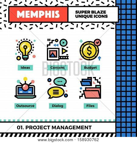 Project Management Neo Memphis Icons.