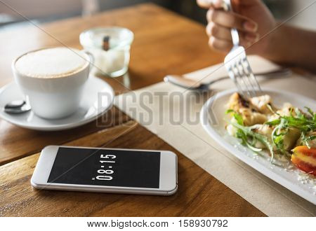 Food Catering Eating Mobile Phone Cafe Restaurant Breakfast Concept