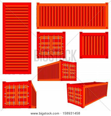 Vector isolated set of renderings of the cargo container of various species. 3D illustration of transport logistics. Cargo container or shipping container.