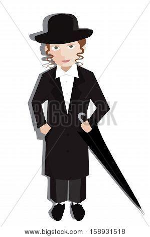 teenager boy in orthodox jewish clothes vector cartoon - cartoon vector illustration