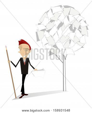 Man and document tree. Smiling man with a big pencil stands near a tree of documents