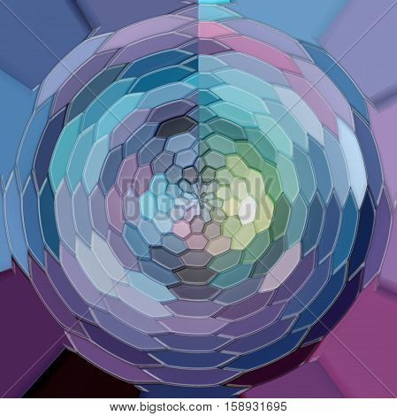 Abstract background of the dark gradient with visual poolar coordinates,cubism,mosaic and stained glass effects,good for your project design