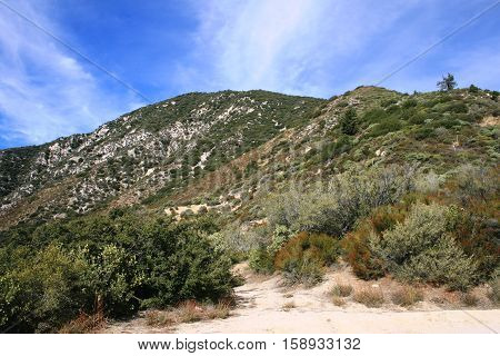 Hiking trail leading across a mountain side, California
