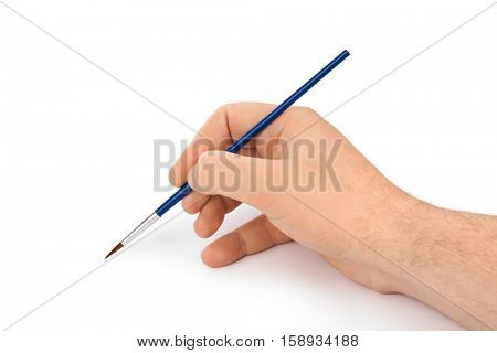 Hand with paintbrush isolated on white background