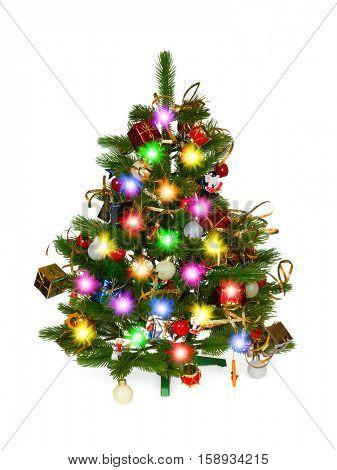 Decorated christmas tree isolated on white background