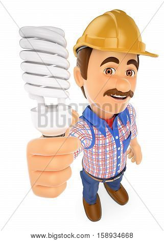 3d working people illustration. Electrician with a energy saving light bulb. Isolated white background.