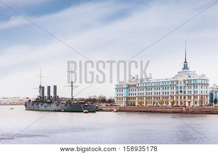 ST. PETERSBURG RUSSIA - OCTOBER 22 2016: Russian cruiser Aurora - Russian protected cruiser the famous landmark now it is museum ship