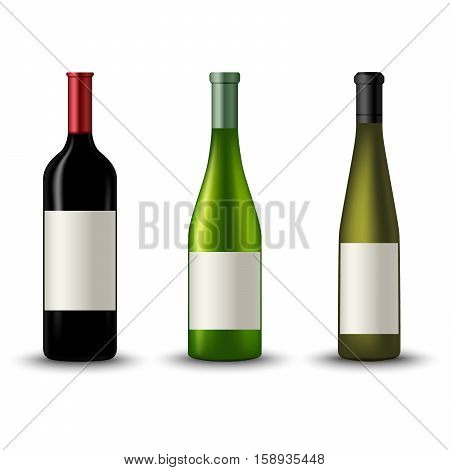 Collection of different wine bottles template vector eps 10