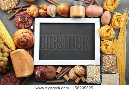 Black board and ingredients for cooking