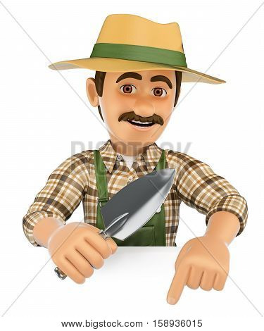3d working people illustration. Gardener pointing down. Blank space. Isolated white background.