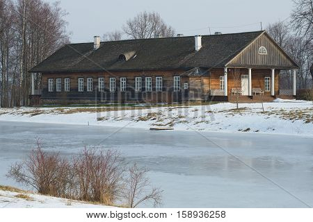PUSHKINSKIYE GORY, RUSSIA - FEBRUARY 22, 2015: House landlords Osipov-wolf in the estate of Trigorskoye close up, February day. The historical landmark of the Pskov region