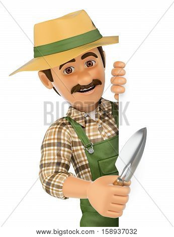 3d working people illustration. Gardener pointing aside. Blank space. Isolated white background.