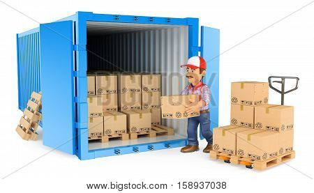 3d working people illustration. Worker loading or unloading a container. Isolated white background.