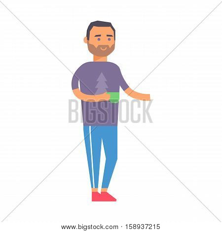 Coffee break business man with cup, cafe beverage espresso breakfast character male vector illustration. Tea cup concept icon person. Male holding fresh beverage drink vector character.
