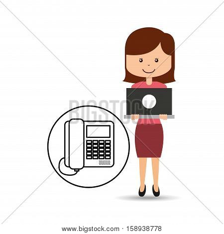 support assitance concept girl with line service vector illustration eps 10