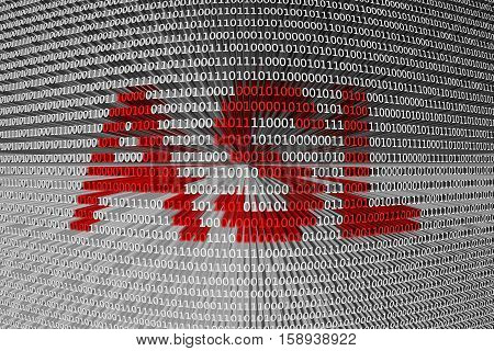 ASL in the form of binary code, 3D illustration
