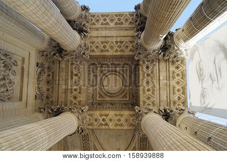 PARIS FRANCE - SEPTEMBER 27 2015: The Pantheon mausoleum one of the main landmarks of Paris France