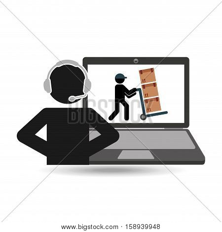 delivery call centre operator online man puching boxes vector illustration eps 10