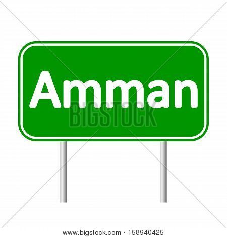 Amman road sign isolated on white background.