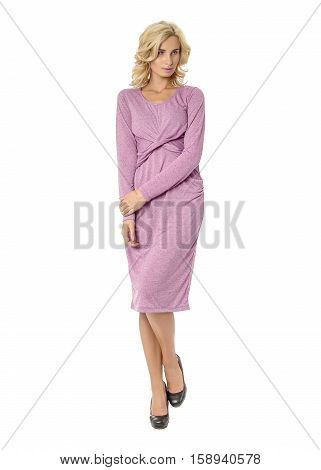 Portrait Of Flirtatious Woman In Pink Dress Isolated On White