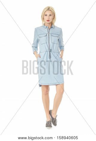 Portrait Of Flirtatious Woman In Blue Shirt Dress Isolated On White