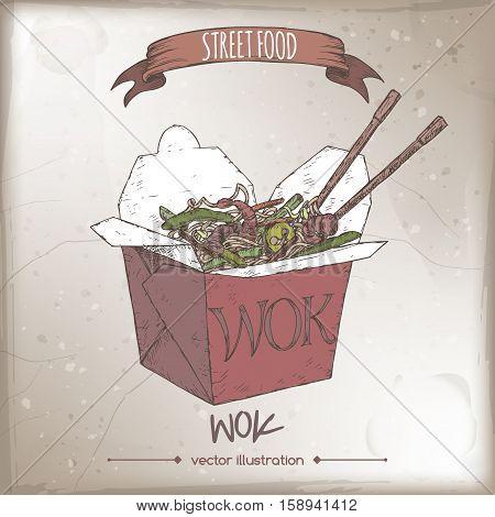 Wok noodles in a box color sketch on grunge background. Asian cuisine. Street food series. Great for market, restaurant, cafe, food label design.