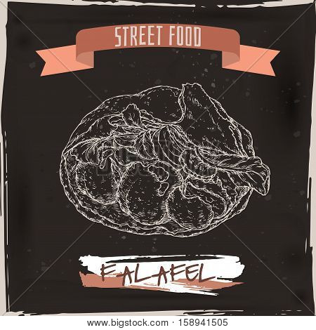 Falafel in pita sketch on grunge black background. Middle eastern cuisine. Street food series. Great for market, restaurant, cafe, food label design.