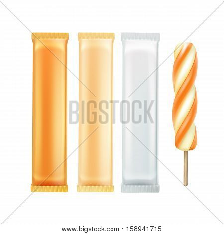 Vector Set of Orange Caramel Spiral Popsicle Lollipop Ice Cream Fruit Juice Ice on Stick with Orange White Plastic Foil Wrapper for Branding Package Design Close up Isolated on Background