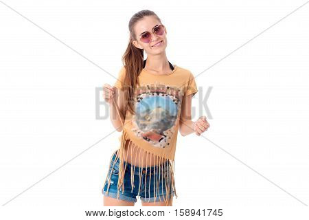cutie brunette girl in sunglasses and casual summer clothes isolated on white background