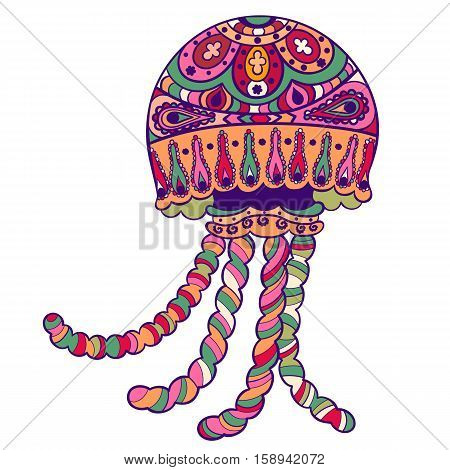 Hand drawn ornate jellyfish medusa animal sea