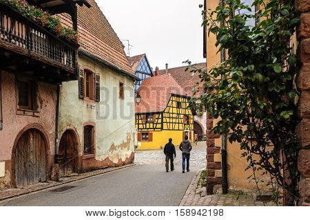 On the streets of the old fortified town of  Bergheim; Alsace; France