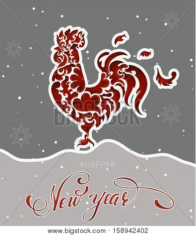 New year red rooster with lettering and snowflakes. Vector illustration EPS 10