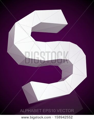 Abstract White 3D polygonal uppercase letter S with reflection. Low poly alphabet collection. EPS 10 vector illustration.