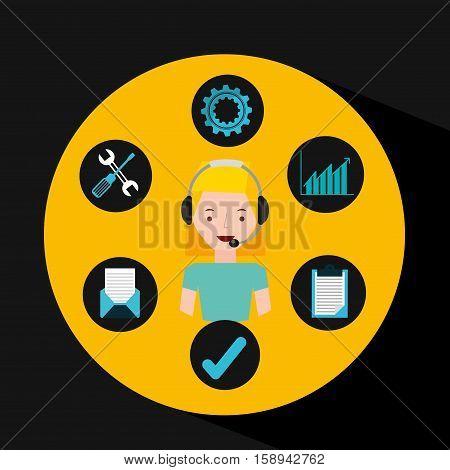 girl blonde support operator assistance vector illustration eps 10