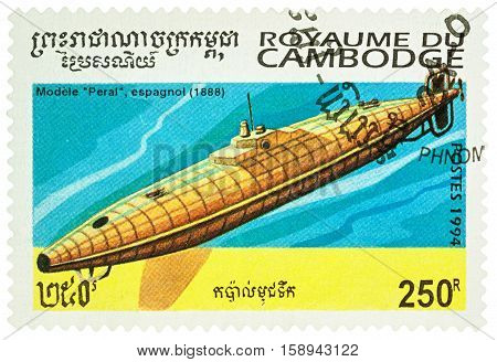MOSCOW RUSSIA - NOVEMBER 28 2016: A stamp printed in Cambodia shows old Spanish submarine