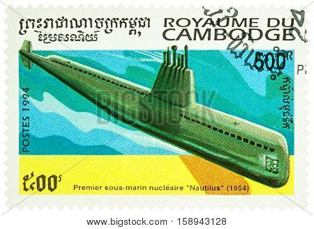 MOSCOW RUSSIA - NOVEMBER 28 2016: A stamp printed in Cambodia shows the first American nuclear-powered submarine Nautilus (1954) series