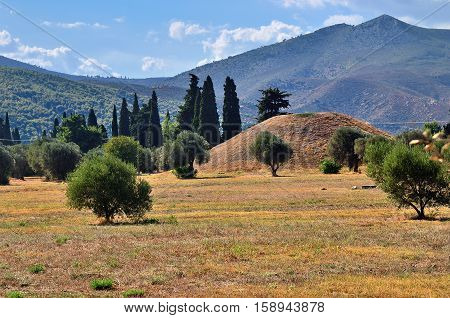 The tumulus or burial mound of the 192 Athenian fallen at the Battle of Marathon also called the