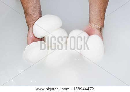 Cheesemaker showing freshly made mozzarella in hot water
