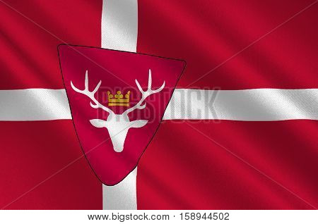 Flag of Hoersholm is a municipality in Region Hovedstaden of Denmark. 3d illustration