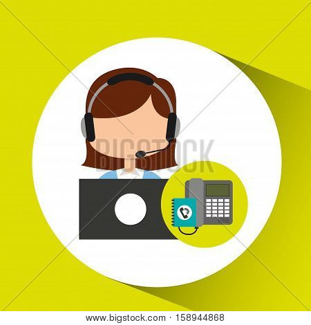 call center operator girl contacts customers vector illustration eps 10
