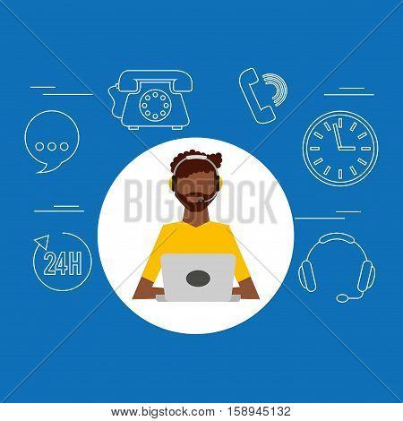 avatar afroamerican man contact us information service vector illustration eps 10