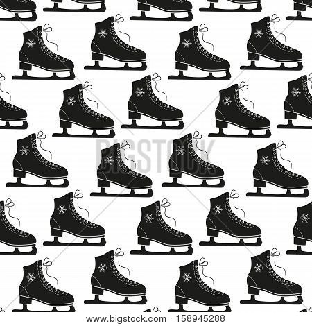 Figure skates and snowflakes on a white background. Seamless vector pattern.