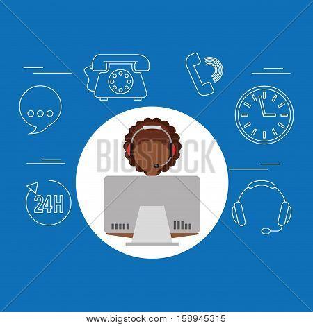 avatar afroamerican girl contact us information service vector illustration eps 10