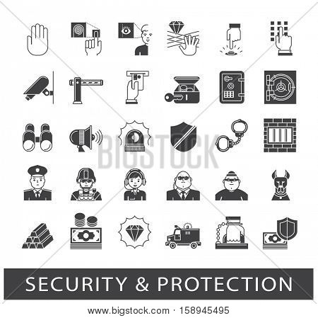 Set of premium quality security and protection icons. Collection of web safety icons.