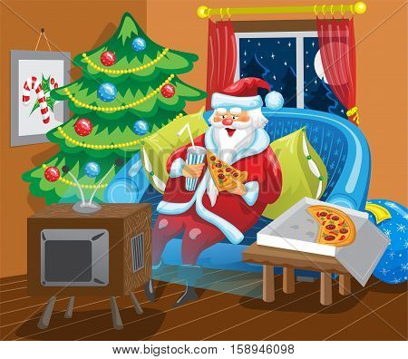 Santa Claus is sitting in front of TV and eating pizza. Santa is watching TV show in his home on a couch near Christmas tree.
