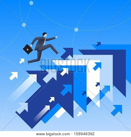 Running up to success business concept. Confident businessman in business suit with case in his hand running up jumping from one flying arrow to another. Successful career successful investment.