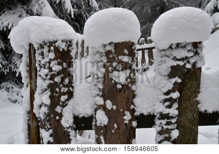 Wooden fence, fence slats, snow cap, snow, cold, snow, snow flakes