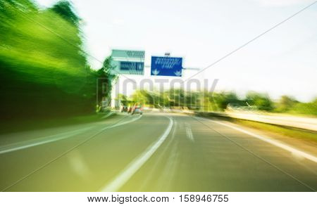 Moving fast on highway - distortion view after narcotic or alcoholic usage vint distorted colros and perspectivew