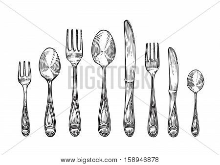 Cutlery set spoons, forks and knifes, top view. Sketch vector illustration isolated on white background
