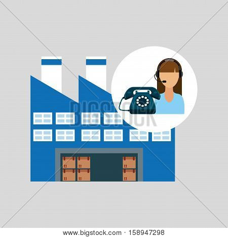 call centre woman working warehouse merchandise boxes vector illustration eps 10